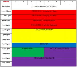 Friday Class Timetable Park Wrekin Gymnastics