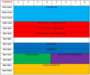 Thursday Class Timetable Park Wrekin Gymnastics
