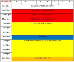 Wednesday Class Timetable Park Wrekin Gymnastics